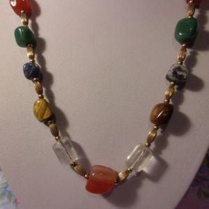 """Krementz Multi Color Stone Nugget Necklace 22"""" L"""